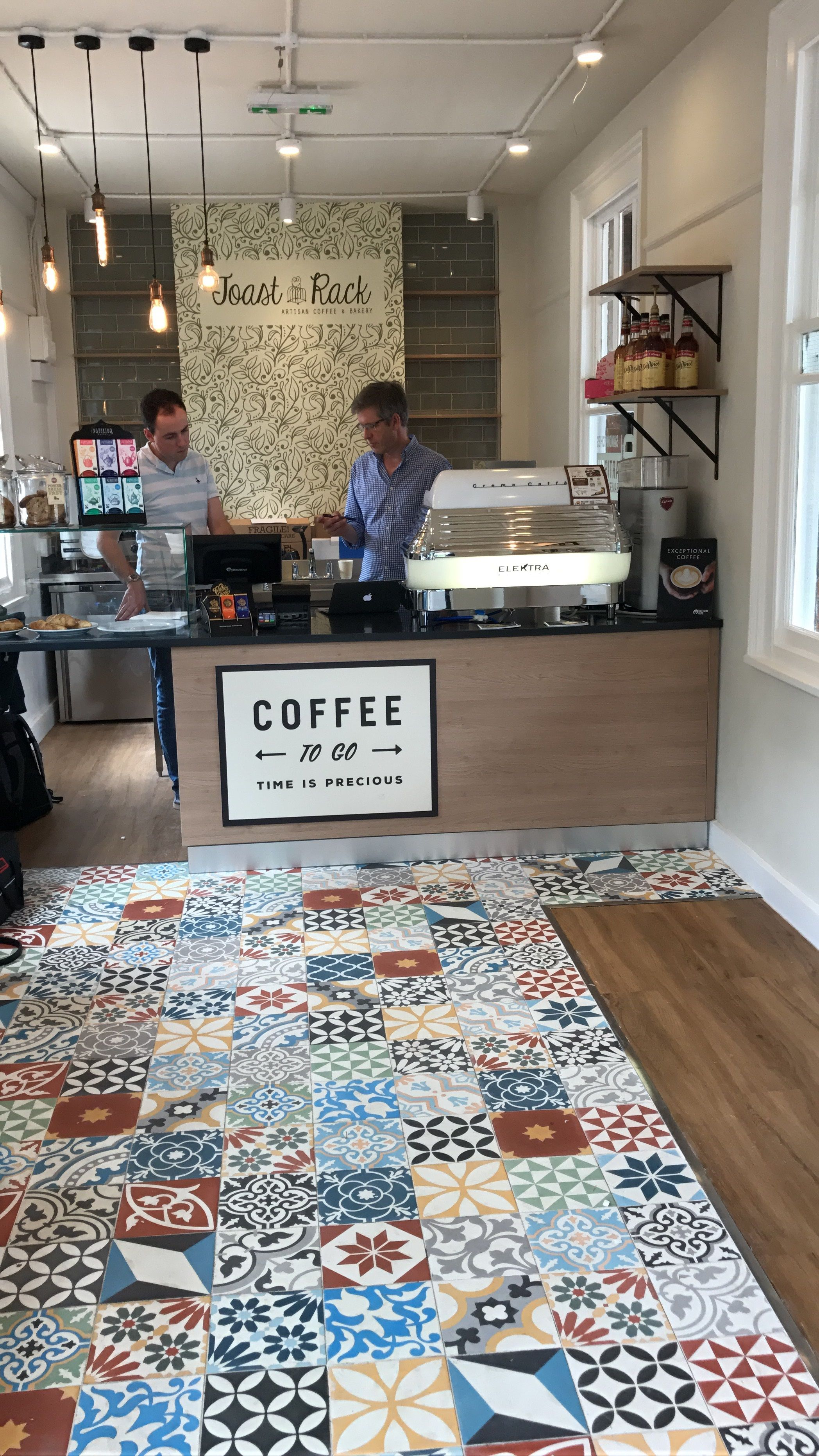 Our patchwork Encaustic tiles installed in an artisan coffee shop in ...