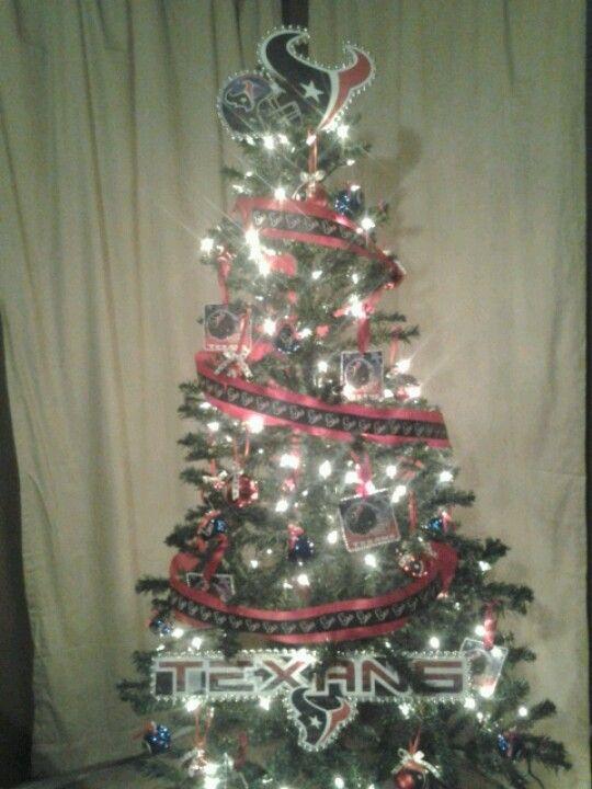Houston Texans Christmas Tree I made!I handmade the ornaments & tree topper  too! - Houston Texans Christmas Tree I Made!I Handmade The Ornaments & Tree