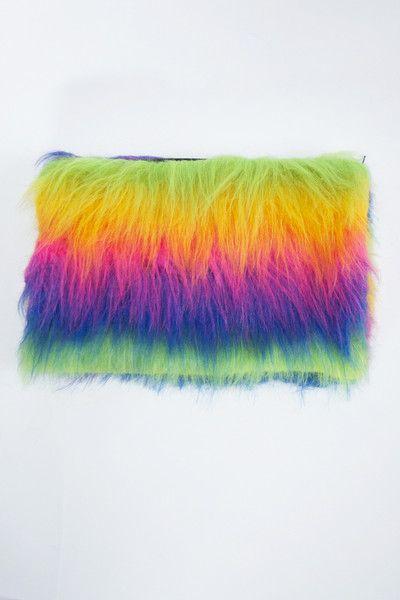 Rainbow Fluffy Bag, fashion, style, clutch, accessories
