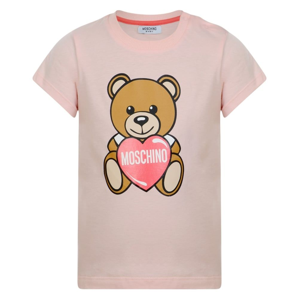 20dbb764c9a Moschino Baby Girls Pink T-Shirt with Heart Teddy Bear Print ...