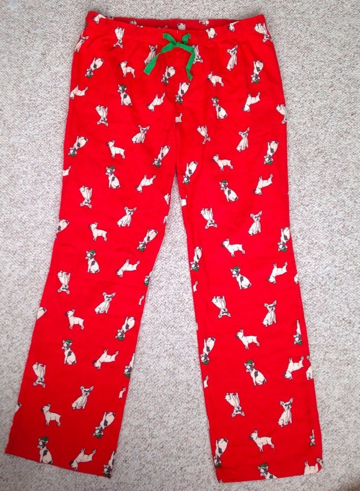 NEW Funny CHIHUAHUA CHRISTMAS DOG PAJAMA PANTS Red Old