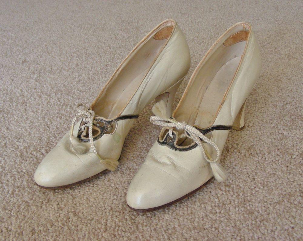 Fab Vintage 20s30s Bone w/Black Tie High Heels #Heels