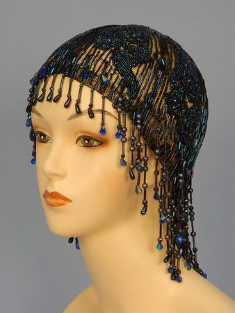 071e3ba11f4 BEADED and SEQUINNED FLAPPER CAP with FRINGE
