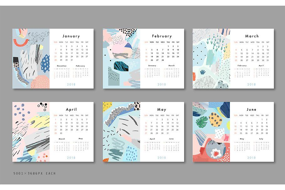 2018 CALENDARS set ~ Stationery Templates ~ Creative Market Clip