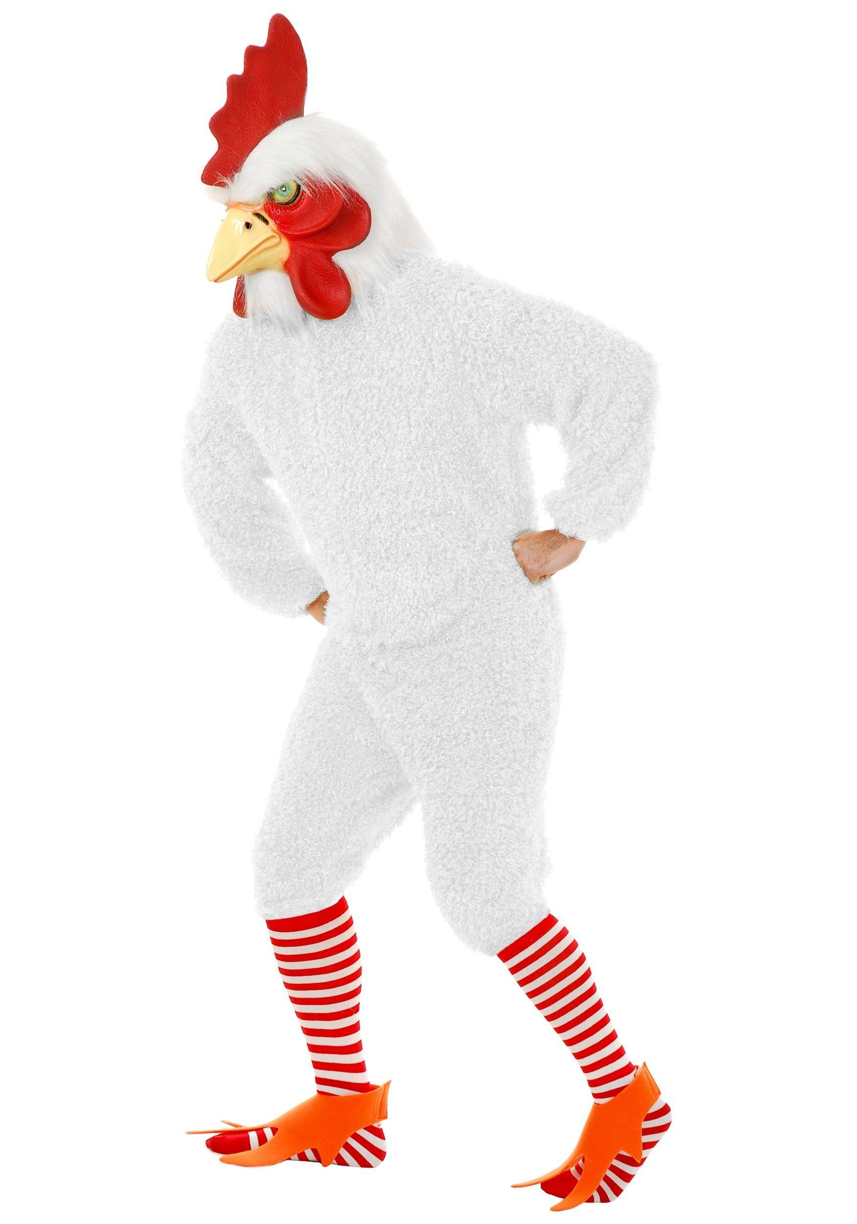 White Overhead Chicken Mask Farm Animal Fancy Dress