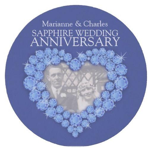 Sapphire Wedding Anniversary Heart Photo Coasters
