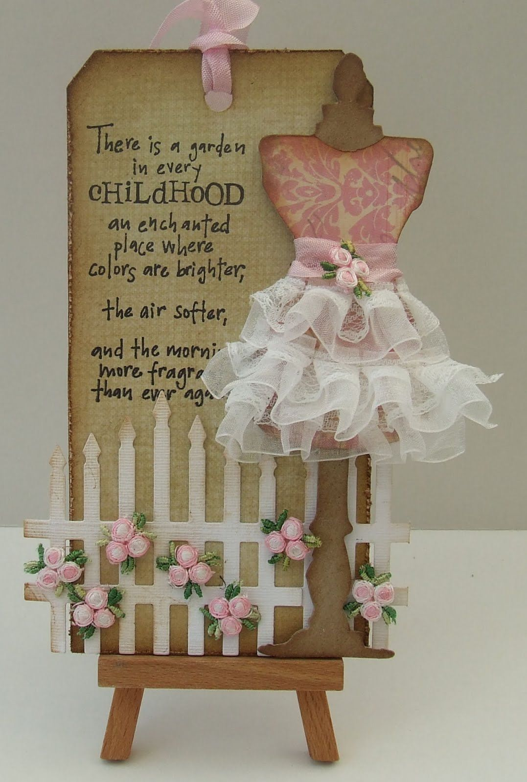 A Girlie Tag Using My New Tim Holtz Die With Images Handmade Tags Card Tags Dress Card