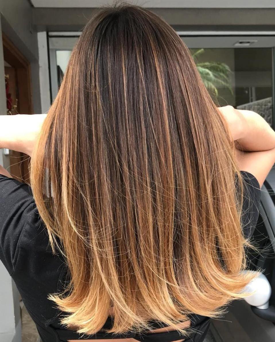 Caramel Balayage For Dark Brown Hair Balayage Straight Hair Brown To Blonde Balayage Brown Straight Hair