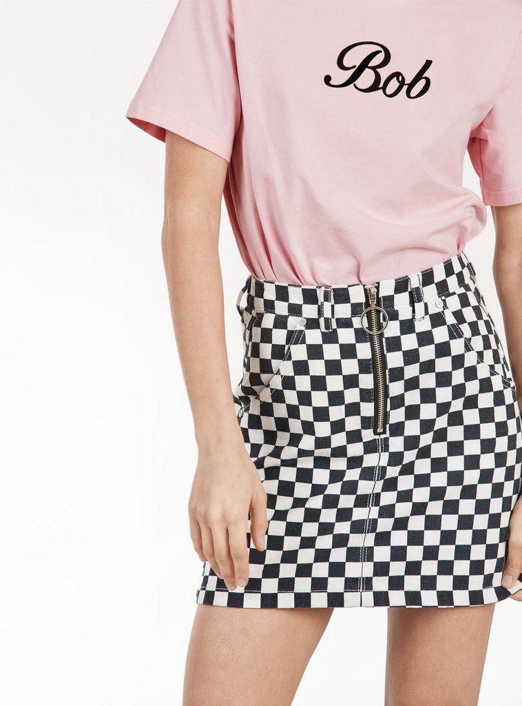 8b56e65549 black   white checkered denim skirt with belt loops   pockets