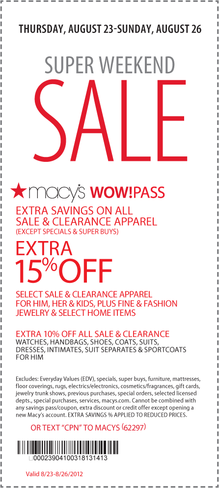 Extra 15 Off Sale Clearance Apparel At Macys Or Online Via Checkout Promo Treat Coupon Via The Coupons App Macys Coupons Printable Coupons Macys