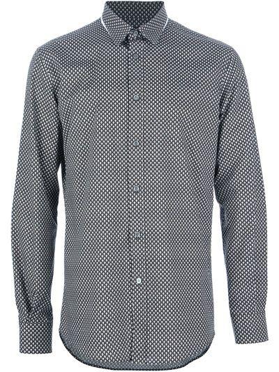 Alexander McQueen Camisa Preta Estampada.