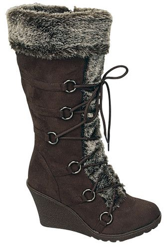 8e30010e70af Top Moda Women s Pure 3 Brown Wedge Heel Faux Suede Boot with Faux Fur LOVE  THESE!