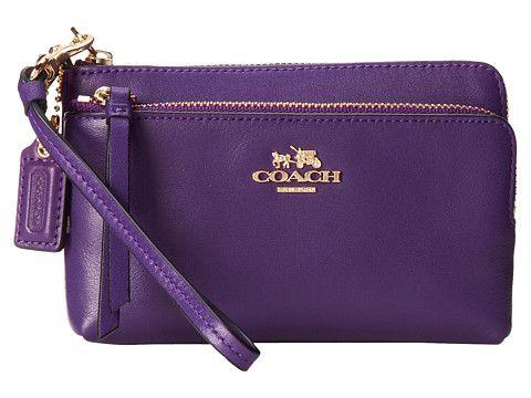 Coach Madison Leather Double Zip Wristlet Zos Purses Pinterest Wristlets And Purple
