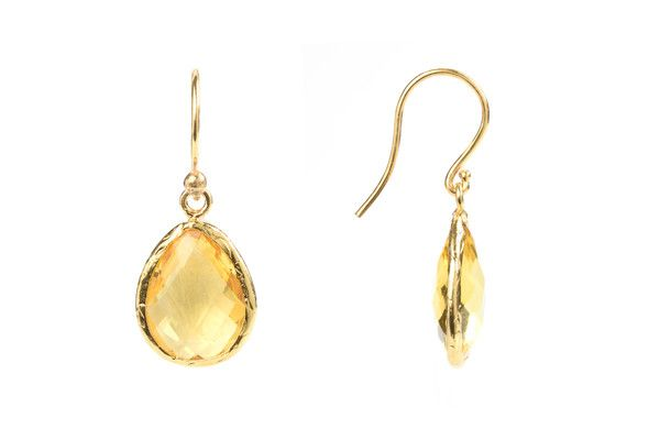 Gold Petite Drop Earring Citrine Hydro