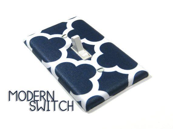Navy Blue Quatrefoil Light Switch Cover Geometric By Modernswitch 12 00