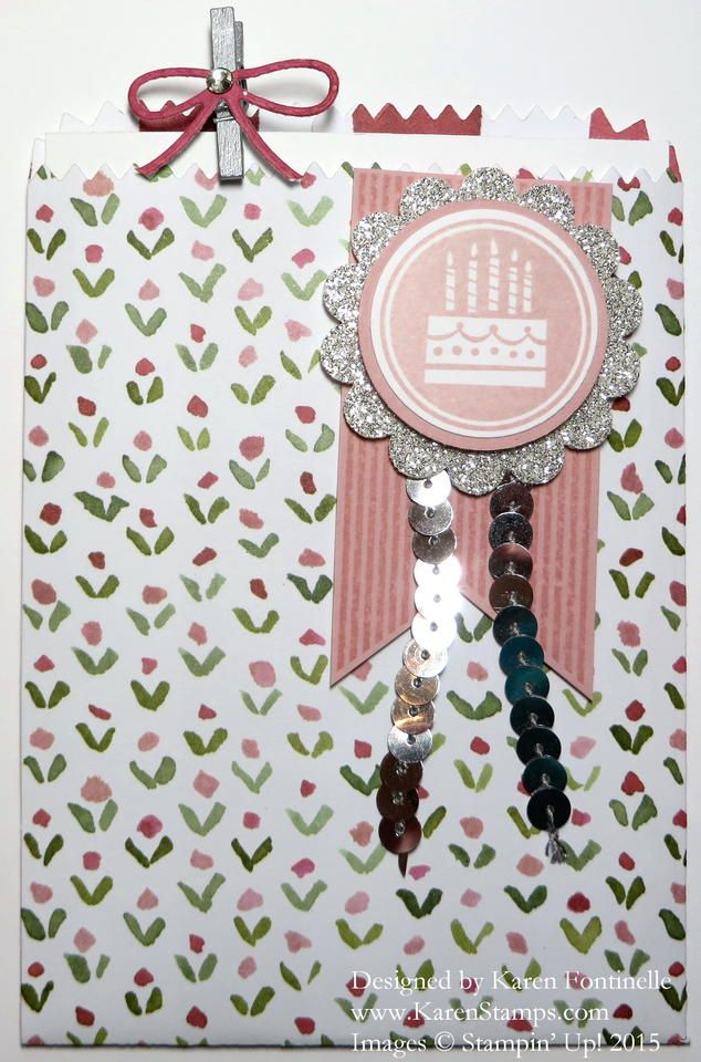 Use the Mini Treat Bag Thinlits Dies and the English Garden Designer Paper to make an easy birthday card using the Amazing Birthday stamp set.  http://www.stampinup.com/ECWeb/ProductDetails.aspx?productID=137547&dbwsdemoid=54345