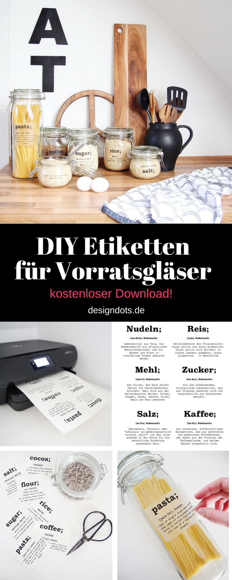 Küchenideen, um platz zu sparen diy etiketten für vorratsgläser zum ausdrucken  ideen rund ums haus