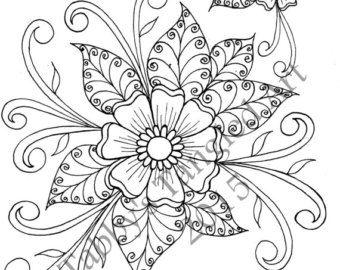 Henna Flower Coloring Page by TabbysTangledArt on Etsy