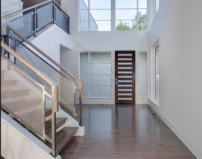 Escaleras moderna descanso modern stairs pinterest for Escaleras metalicas con descanso