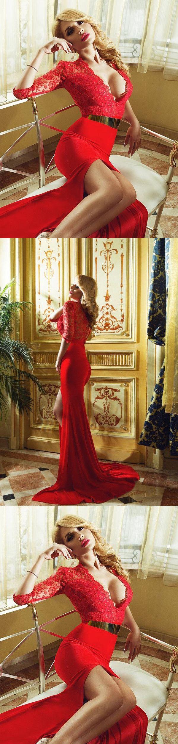 Red mermaid prom dress v neck cheap long prom dress m lip