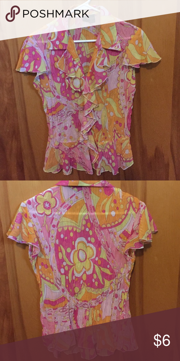 Top Super cute bright multi colored top. Worn very little. Has light shimmer threading through it Tops Blouses