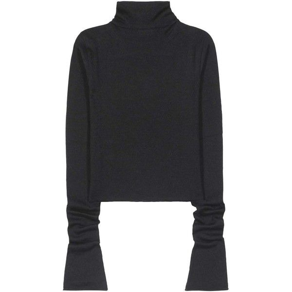 Acne Studios Jiao Alpaca and Wool Sweater (€320) ❤ liked on Polyvore featuring tops, sweaters, black, acne studios sweater, alpaca sweaters, acne studios, alpaca wool sweater and woolen sweater