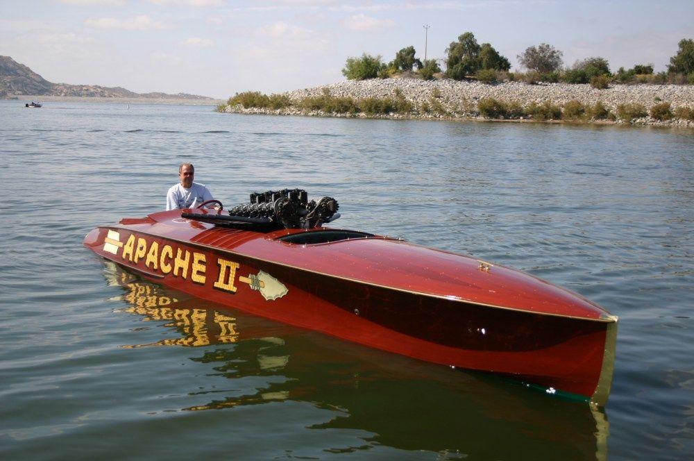 Vintage Speed Boat Racer Print Apache Ii Boat Mahogany Boat