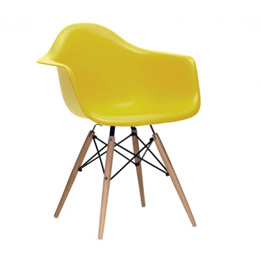Charles Ray Eames Style DAW Arm Chair Mustard RAY and CHARLES