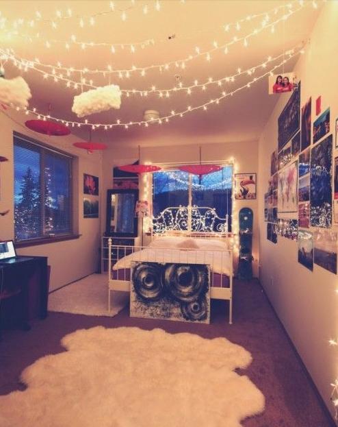 Twinkle Lights Across The Ceiling Christmas Bedroom Christmas Decorations Bedroom Teenage Girl Bedrooms