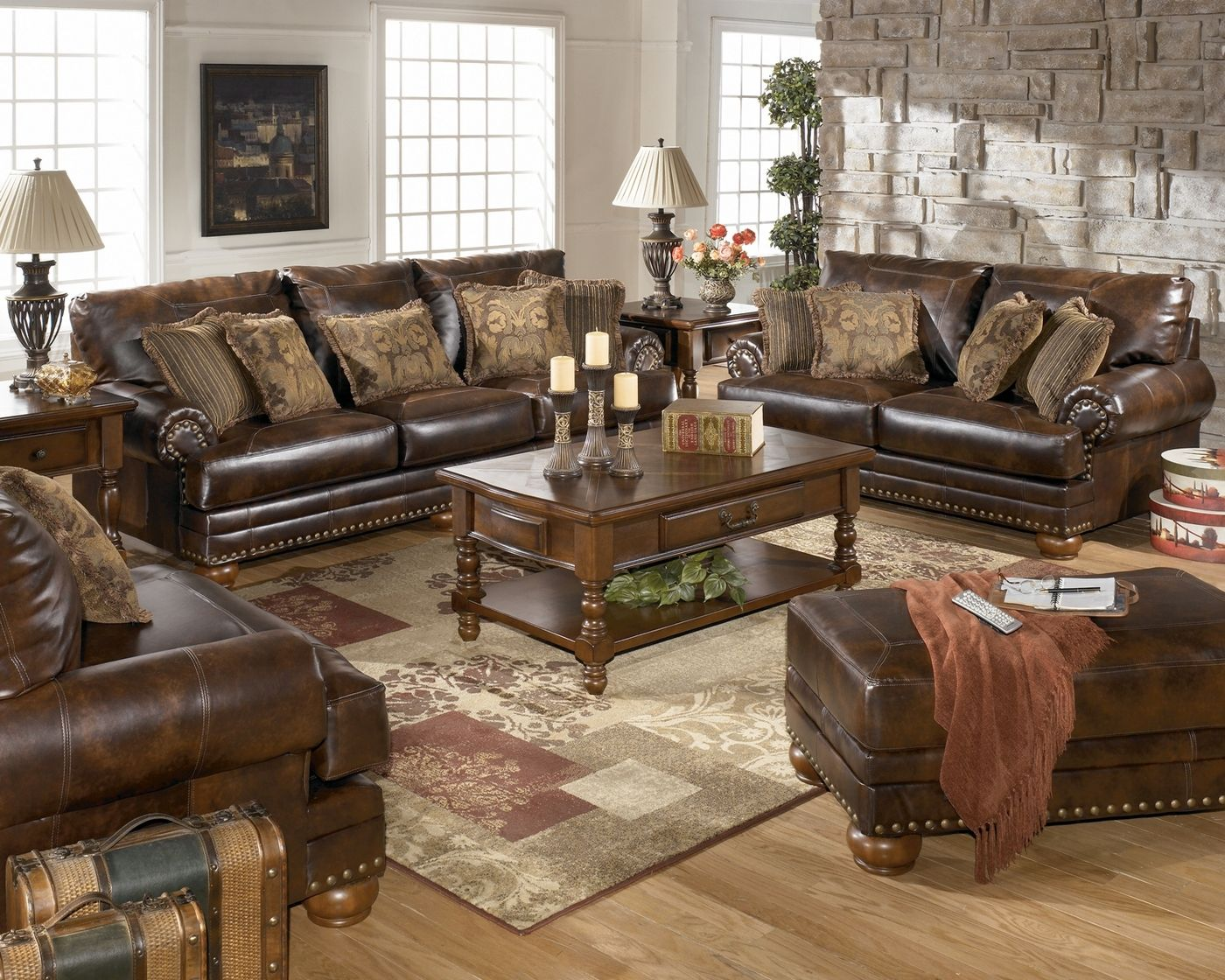 Bonded Leather Antique Brown Sofa