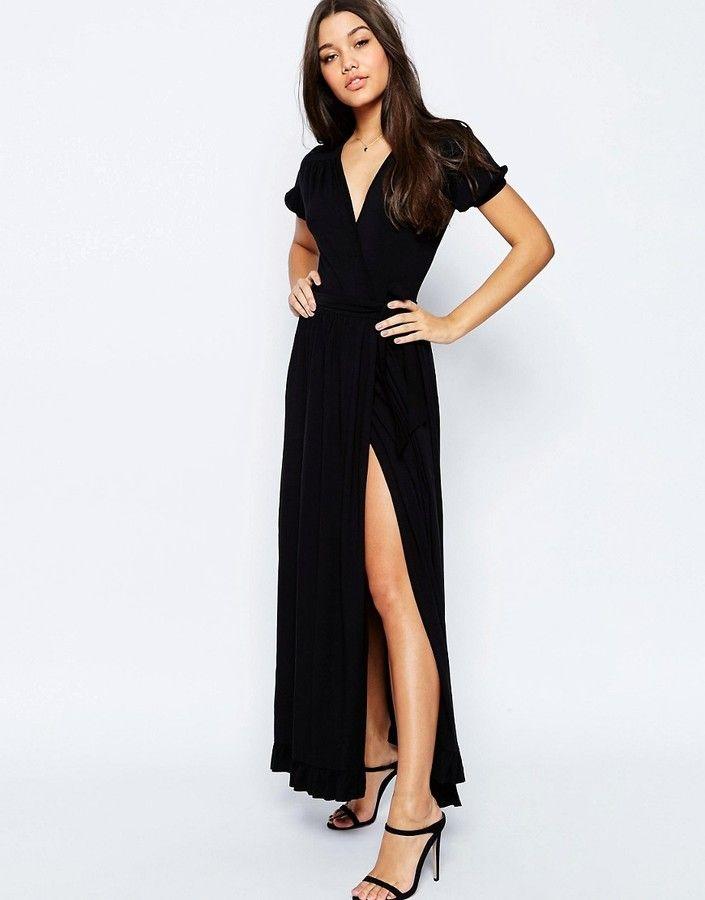 ASOS COLLECTION ASOS Maxi Tea Dress With Wrap Front ...