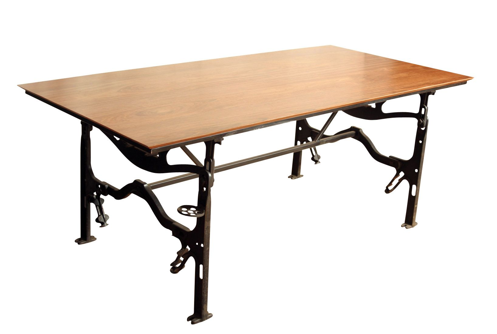 Black distressed dining table and six parlor chairs stamped 1928 - Industrial Dining Table Cast Iron Base Jatoba Wood Top 30x77x38 2400