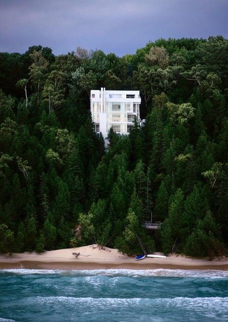 This photograph shows American architect Richard Meier's Douglas House perched above Lake Michigan, which has been added to the USA's National Register of Historic Places.