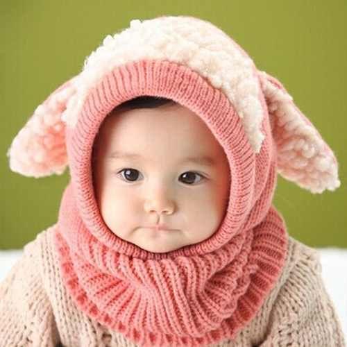 gorro tejido en lana para bebés niña y niño con cuello  764b9bb2f51