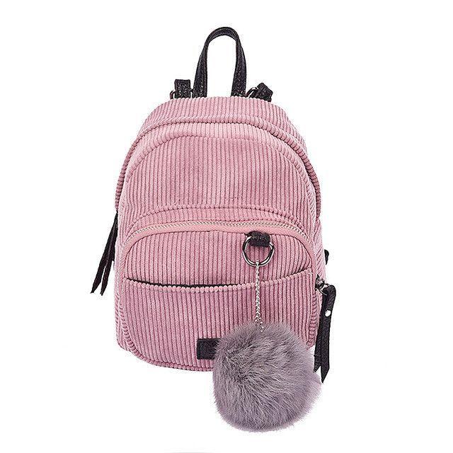 91f5b453b9 New Fashion Spring Women Corduroy Mini Backpack Girls School Bag with Plush  Shoulder Bag Fur Ball Solid Color Corduroy Backpack