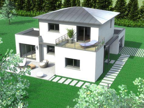 Maison Contemporaine Quimper coté Jardin plan et façade Pinterest - Modeles De Maisons Modernes