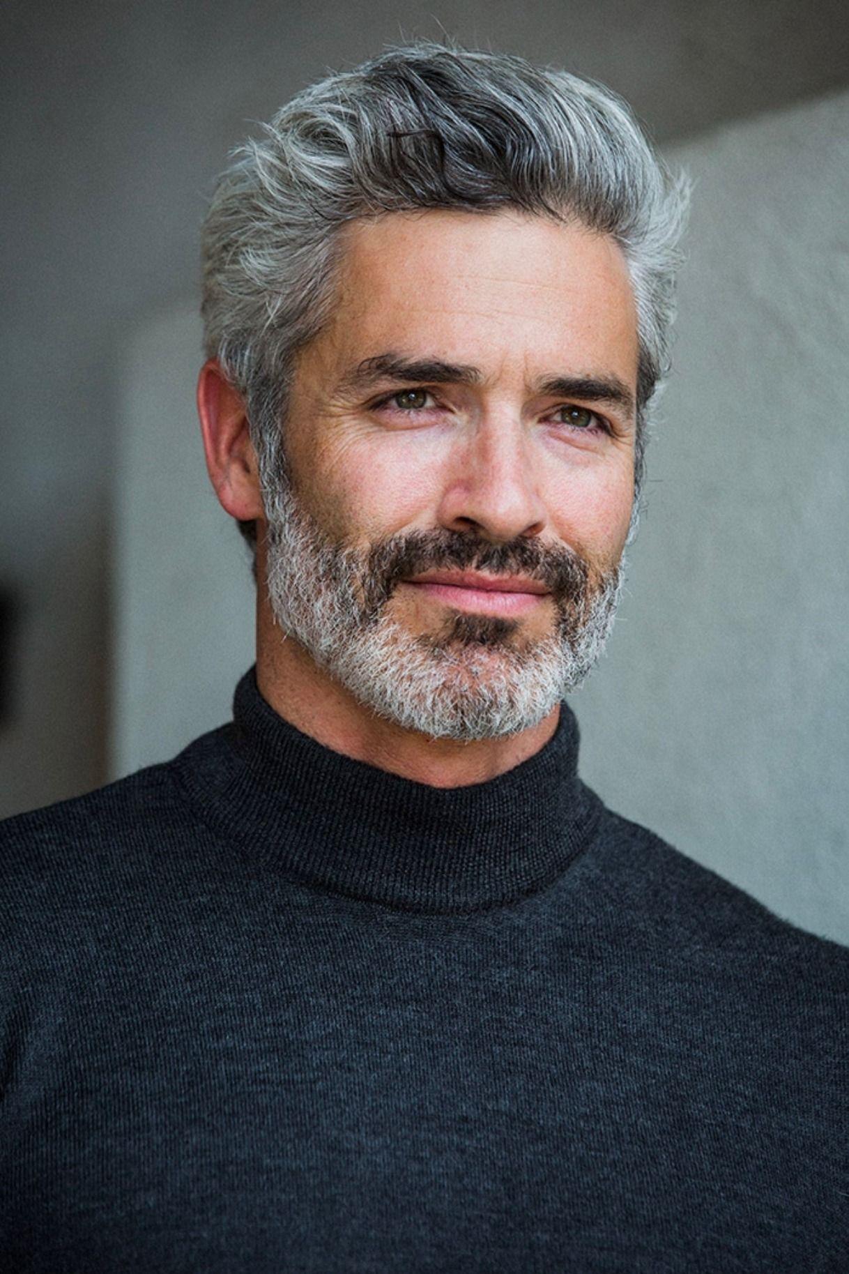 Jeremy Pflaum Model Grey Hair Men Older Mens Hairstyles Grey Beards