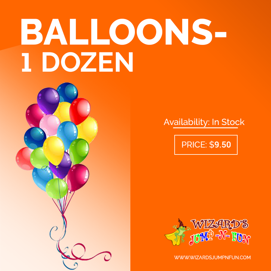 "Balloons - 1 dozen Need more Balloons we have them - one dozen balloons. Our Latex Balloons are the large 11"" balloons. Let us know what colors you would like if your party person has favorite colors. We have a rainbow of colors available so if you can't decide we will just assort them for you  To add cart in click here:http://goo.gl/i9y82h #Balloons #JumpNFun #KidsParty #ThemeParty #PartyGifts"