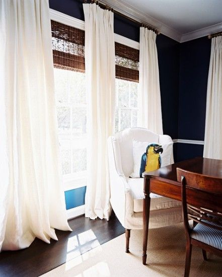 dining room photos | bamboo blinds, navy walls and moldings