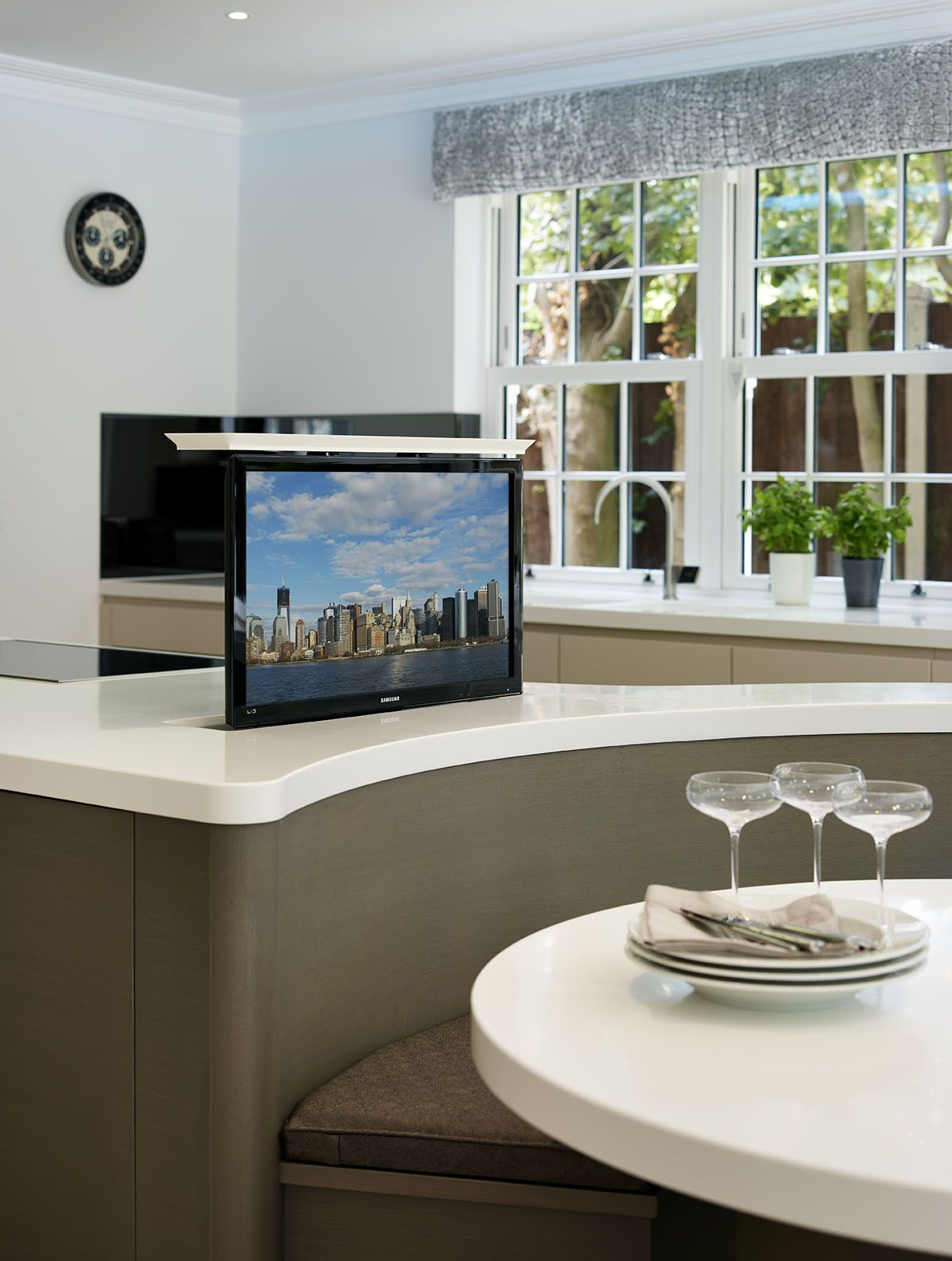 The Worktops Are 50mm Corian Glacier White And We Integrated A Motorized Tv Lift System That When Cl Kitchen Design Kitchen Inspiration Design Bespoke Kitchens