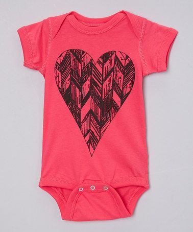 Look at this #zulilyfind! Hot Pink Geometric Heart Bodysuit - Infant #zulilyfinds