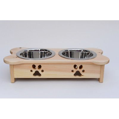 Woodland Imports Carved Paws Double Bowl Elevated Feeder Color: Black
