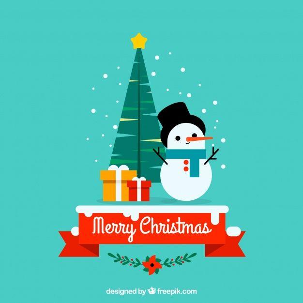 素敵な要素を持つクリスマスの背景 無料ベクター Merry Christmas