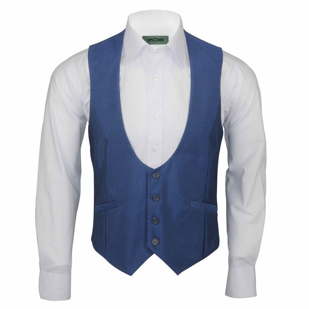 12a124c2600 Details about New Mens Blue Low U Cut Scoop Waistcoat Vintage Smart ...
