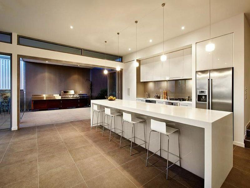 Looks Cold Is A Bit Too Big Modern U Shaped Kitchen Design Using Tiles Kitchen Photo 149647