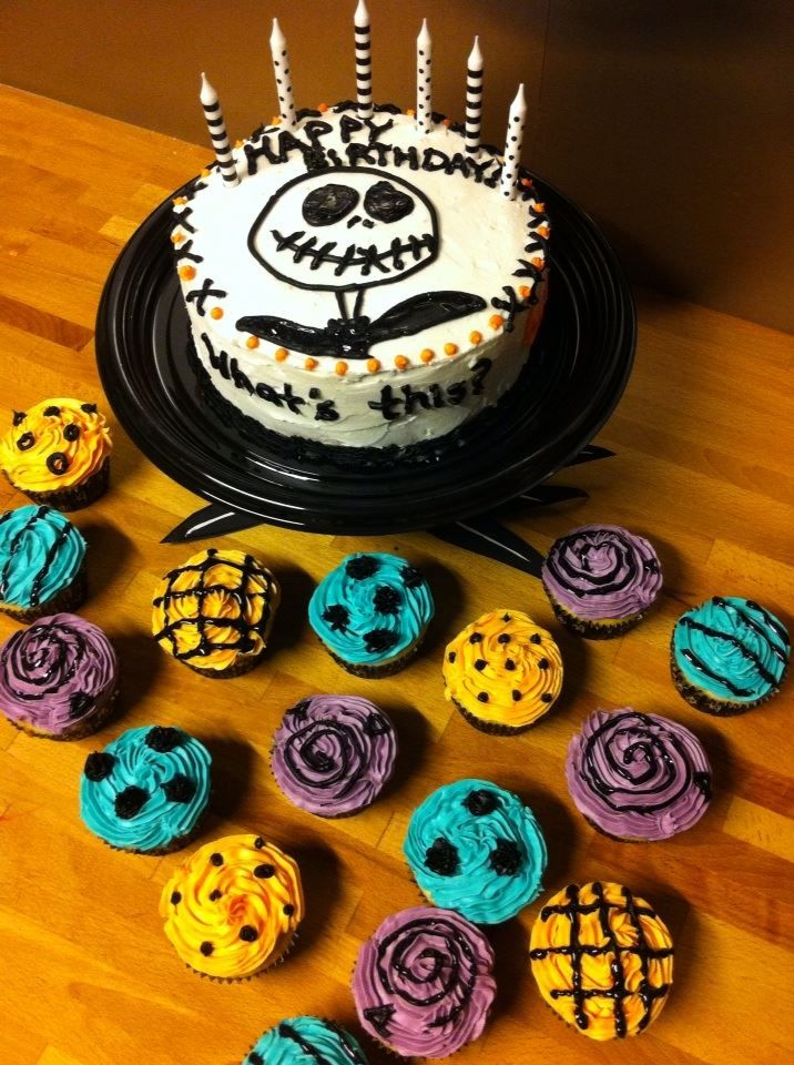 Simple Jack Skellington Cake And Some Sally Inspired Cupcakes