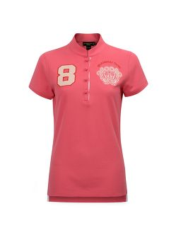 8 Floral Embroidery Cotton Pique Polo Shirt