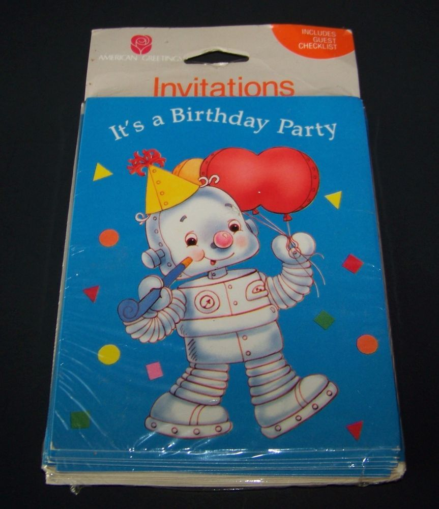Vintage Robot Birthday Party Invitations Blue 8 Count American