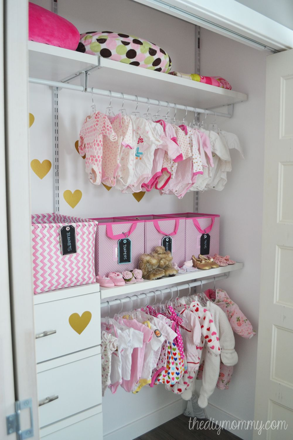 An Organized Baby Closet With The Help Of Closetmaid ShelfTrack Elite Products Found At Lowes Canada What A Neat And Cute Idea