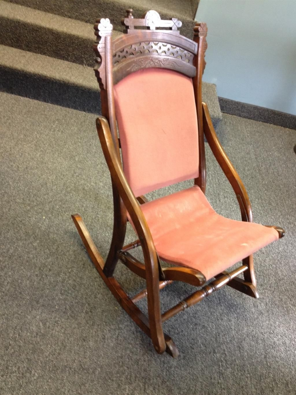 Old Fold Up Rocking Chair High Back Recliner Small Folding Auction Items Pinterest
